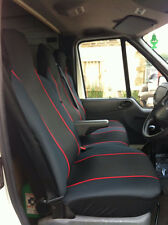 VW Volkswagen LT35 VAN SEAT COVERS BLACK+RED TRIM/PIPING DOUBLE + SINGLE 2+1