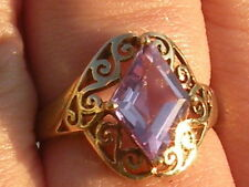 10k Yellow Gold Amethyst Ring Modern with a Twist of Vintage