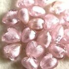 10 pieces 12mm Silver Foil Heart Beads - Pale Pink - A4065