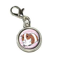 Guinea Pig - Pet Critter Pink - Antiqued Bracelet Charm with Lobster Clasp