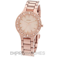 * nuevo * Dkny Ladies Swarovski cámaras Rose Gold Watch-Ny8486-RRP £ 145.00