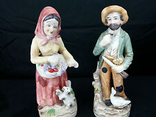 Homco Made in Japan Figurine Set - Old Woman with Dog and Old Man with Duck