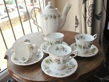 ELEGANT PARAGON BONE CHINA MEADOW SWEET GILDED COFFEE POT 4 CUPS 4 SAUCERS