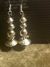 "Native Southwest Sterling Silver Seam & Dome Bead 2.5"" Earrings"