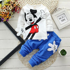 Baby Boy Toddler Kid Blue Mickey Mouse Outfit Top Long Sleeve T-Shirt Pants Suit