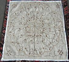 INDIAN MUSLIN & METAL THREAD SEED PEARL EMBROIDERY  WALL HANGING COVERLET RUG