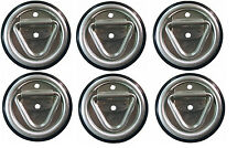 """6 - 4"""" Round Surface Mount D-Ring Tie Downs Trailer ATV 800# Rated with Bezel"""