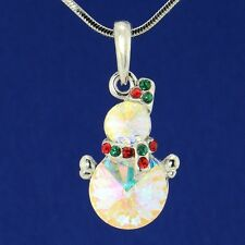 W Swarovski Crystal AB Snowman Christmas Multi Color Pendant Gift Necklace