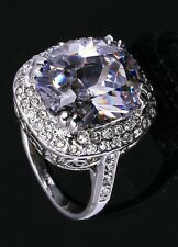 NEW LADIES HUGE CRYSTAL SPECTACULAR DRESS RING SZ P US 7.5 PLATINUM SET NEW+BAG