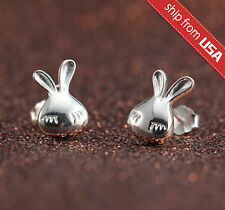 Sleeping Rabbit Bunny 925 Sterling Silver Earrings Ear Stud Jewelry cute Kawaii