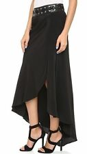 NEW $565 Haute Hippie Asymmetrical Long Skirt 6 Silk Leather