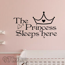 The Princess sleeps here - DIY Arte pared pegatinas Citar Casa Decoración SKY