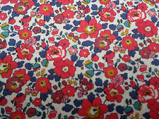 Liberty of London Tana Lawn Fabric 'Betsy Ann A' 2.1 METRES  (210cm) x 136cm Red