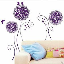 Purple Dandelion Flower Removable Wall Sticker Mural Art Decal Room Decor   F