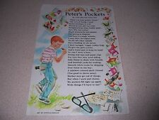 "1968 VTG ""PETER'S POCKETS"" POEM by LOIS BRANDT PHILLIPS"