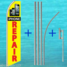 iPHONE REPAIR FLUTTER FLAG + 15' POLE MOUNT KIT Feather Swooper Banner Tall Sign