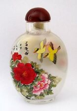 CHINESE INSIDE HAND PAINTED Happy Lucky Twin Birds Peony Flowers SNUFF BOTTLE