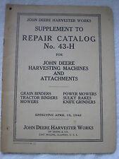 APRIL 1942 JOHN DEERE HARVESTER WORKS SUPPPLEMENT TO REPAIR CATALOG NO. 43-H