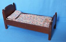 Vtg Doll House Miniature Quality Wooden Single Twin Bed With Mattress Set