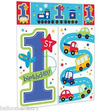 Todos A Bordo De Niño Azul 1ST de la fiesta de cumpleaños Scene Setter Pared Decoración Kit
