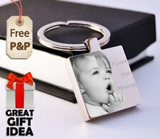 Metal Personalised Square Keyring Keychain PHOTO ENGRAVED Mother's day Gift