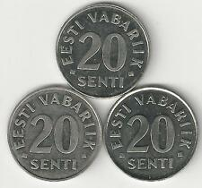 3 DIFFERENT 20 SENTI COINS from ESTONIA (1997, 1999 & 2003)
