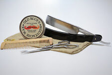 Old Blues Moustache Grooming Kit Blood Orange Moustache Wax Comb Scissors Razor