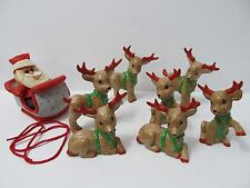 Vintage Santa Sleigh And Reindeer Hand-Painted Kimble Mold Corp