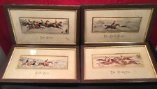 SET OF 4 Victorian Stevengraph silk picture HUNTING SCENES Thomas Stevens Framed