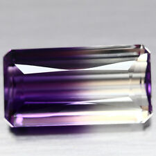 AWESOME EMERALD CUT AMETRINE OF QUARTZ AND AMETHYST GORGOUS COLOR PLAY 25.22CT