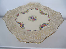 BEAUTIFUL ROYAL WINTON GRIMWADES VINTAGE GOLD FLORAL PEDESTAL FOOTED CAKE STAND