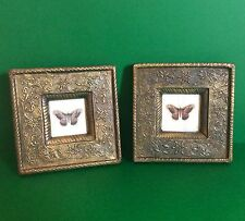 VINTAGE PICTURE Table FRAME SET Metallic Butterfly Flowers Photo Home Decor Gift