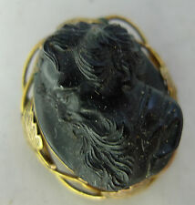 Victorian Yellow Metal Mounted Jet Cameo Brooch Michelangelo? 3cm x 2.5cm