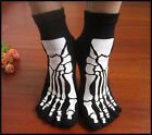 New 2 Pairs Of Cotton Warmth Skull Ankle Length Funny Women's Toe Socks Size 5-9