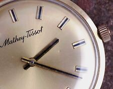 Mathey-Tissot 70s Vintage 14K Gold Slim Bauhaus Style Dress Watch New Band