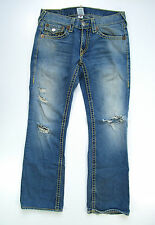 True Religion Billy Super T Yellow Stitch Light Destroyed Jeans Hose Denim 31