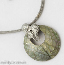 Chico's Signed Pretty Necklace Enamel Over Pale Green Pink Shell Silver Seahorse