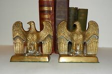 Pair of Vintage Antique Cast Brass Eagle Bookends Felt Bottom over 4 lbs.