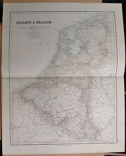 1874 ANTIQUE LARGE FULLARTON MAP- HOLLAND & BELGIUM