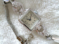 Vintage Longines 14k White Gold Ladies Diamond Wristwatch Antique Estate Watch