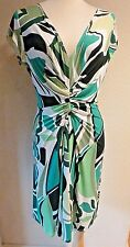 ~MUSE~GREEN/WHITE/BLACK ABSTRACT PRINT KNEE LENGTH SUMMER SUN DRESS~8~NWT~