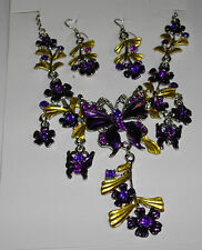 GORGEOUS  RHINESTONE  ENAMEL  BUTTERFLY  NECKLACE  AND  EARRINGS  ( YOU CHOOSE)