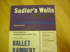 BALLET  Rambert  Various Shows  1958 SADLER's WELLS Original Theatre Poster