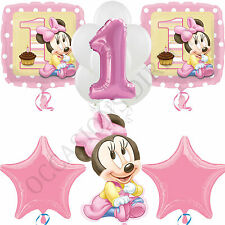 DISNEY MINNIE MOUSE FIRST BIRTHDAY FOIL LATEX HELIUM BALLOON BOUQUET 12 PIECES