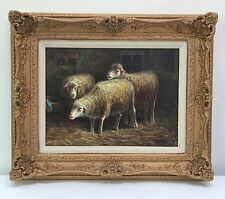 J. STETON Lambs / Sheep ORIGINAL Oil Painting On Canvas, Framed Fine Art
