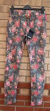 ONLY FLORAL PAISLEY GREY PINK SLIM SKINNY JEANS LEGGINGS TROUSERS PANTS S