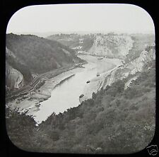 Glass Magic Lantern Slide AVON FROM CLIFTON DOWNS C1900 ENGLAND BRISTOL PHOTO
