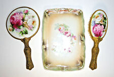 Antique Vanity Set 3pc Mirror Brush Ceramic Tray Rose Floral Signed Numbered EC