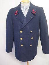 "Vintage FRENCH NAVY PEA COAT Naval Clothing Wool  38"" R Euro 48 R - Blue"