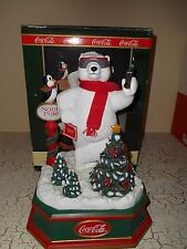 COCA COLA Animated White Polar Bear With Penguin Christmas Trees Display